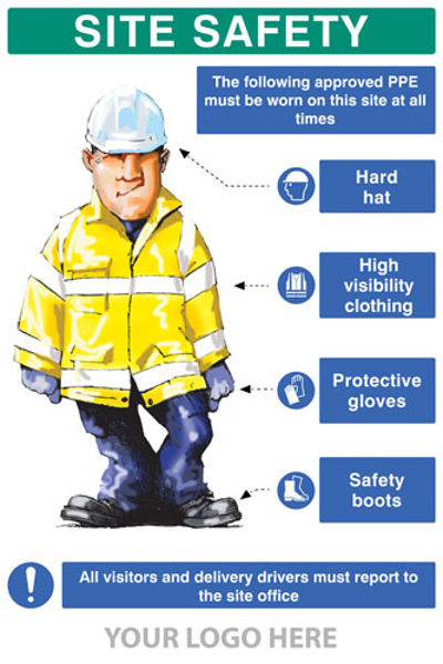 Picture of PPE requirement sign (Hat,Hivis,Gloves,Boots)