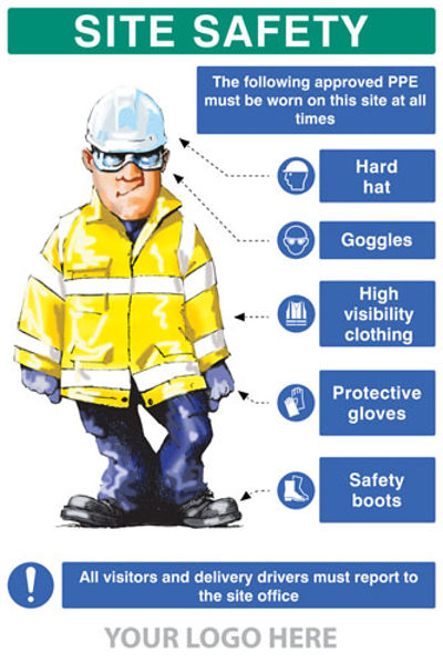 Picture of PPE requirement sign (Hat,Goggles,Hivis,Gloves,Boots)