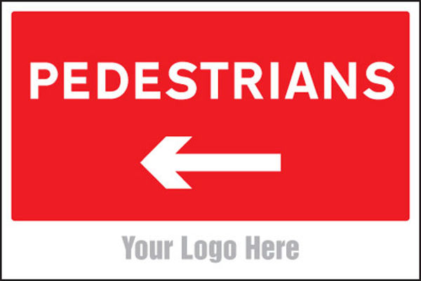 Picture of Pedestrians, arrow left, site saver sign 600x400mm