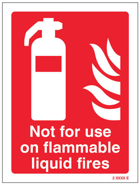 Picture of Not for use on flammable liquid fires