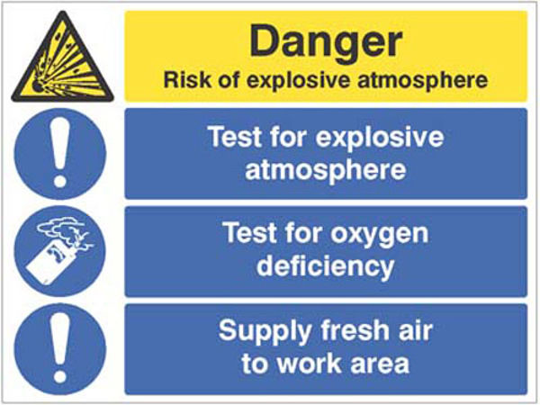 Picture of Risk of explosive atmosphere, test for oxygen deficiency, supply fresh air