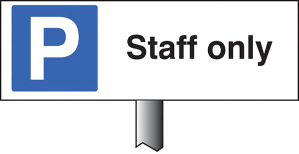 Picture of Parking staff only verge sign 450x150mm (post 800mm)