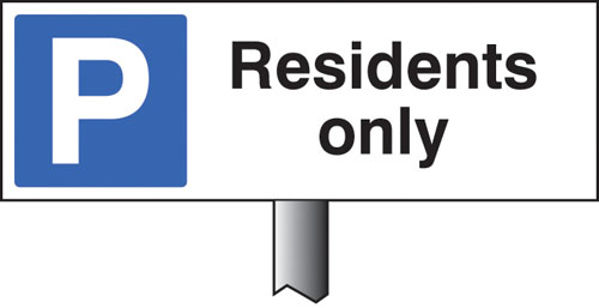 Picture of Parking residents only verge sign 450x150mm (post 800mm)