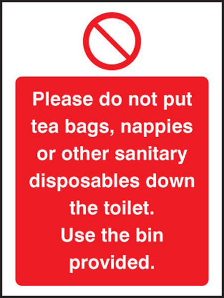 Picture of Please do not put tea bags etc down toilet use bins provided