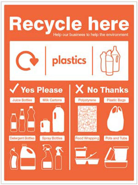 Picture of Plastic bottles - WRAP Recycle here sign