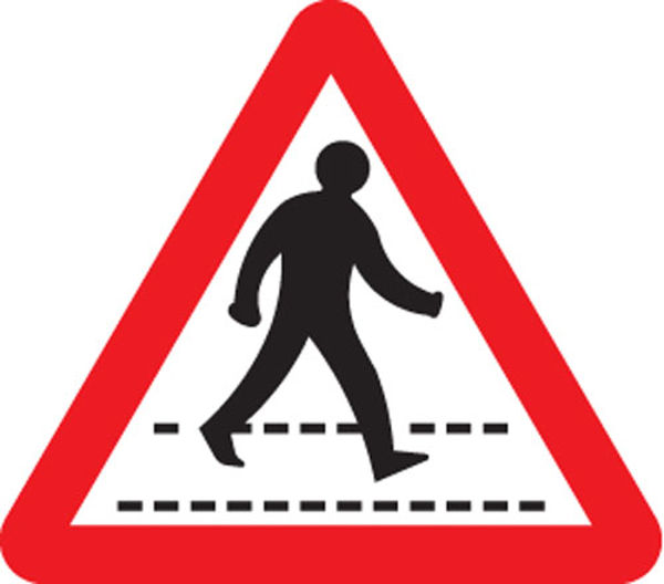Picture of Pedestrians crossing ahead class R2 Permanent 600mm triangle (3mm aluminium
