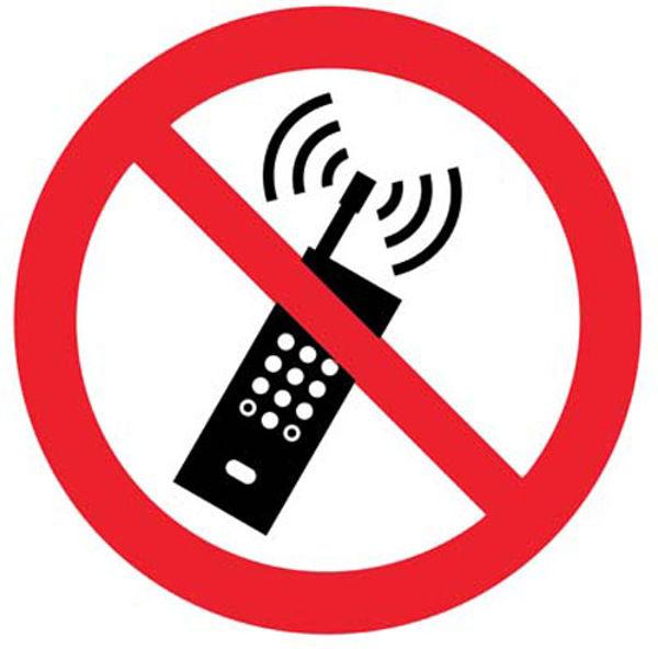 Picture of No mobile phones symbol floor graphic 400mm dia