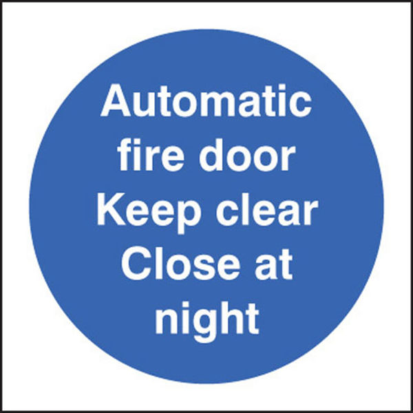 Picture of Automatic fire door keep clear close at night